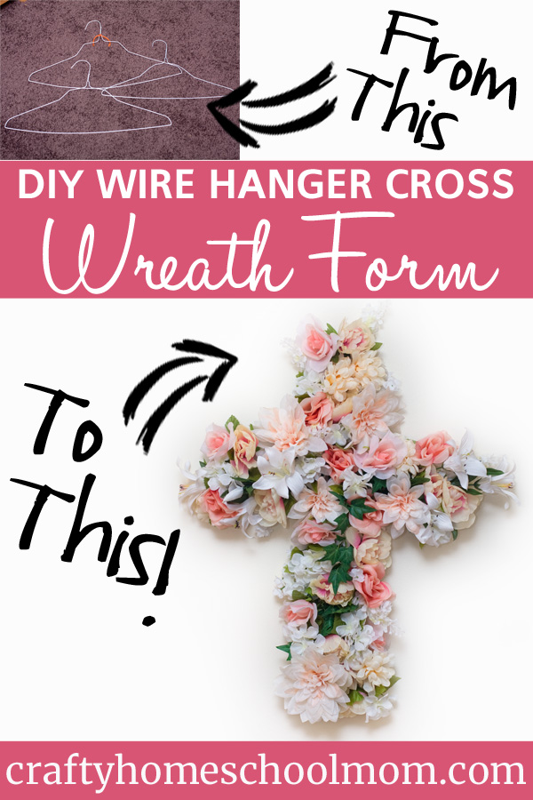 "Create a cross ""wreath"" from wire hangers, wire, and artificial flowers."